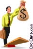 businessman trying to balance his money Vector Clipart image