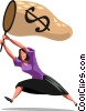 Vector Clipart picture  of a businesswoman with a money net