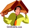 Vector Clip Art graphic  of a man hiding under his briefcase