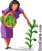 businesswoman picking her money tree Vector Clipart graphic