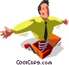man as a Jack-in-the-Box, jumps up on a spring Vector Clipart illustration