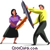 man and woman fencing with pens Vector Clip Art image