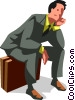 exhausted businessman Vector Clip Art graphic