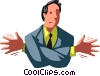 Vector Clipart graphic  of a man with his arms entangled