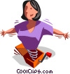 woman as a Jack-in-the-Box, jumps out on a spring Vector Clip Art picture