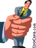 Vector Clip Art graphic  of a businessman being crushed