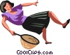 Vector Clip Art image  of a woman falling