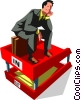 Vector Clip Art graphic  of a businessman sitting in an