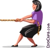 Vector Clipart graphic  of a tug-of-war