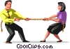 Vector Clip Art image  of a tug-of-war