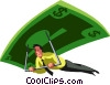 businessman paragliding on money Vector Clipart picture