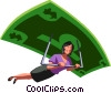 Vector Clipart graphic  of a businesswoman paragliding on