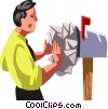 Vector Clip Art graphic  of a businessman at his mailbox