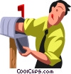 Vector Clip Art image  of a Businessman checking his mail