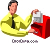 Vector Clip Art graphic  of a businessman dropping off mail