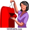 woman dropping off mail Vector Clipart graphic