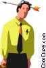 Vector Clipart graphic  of a man with toy arrow through his
