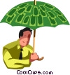 businessman with a money umbrella Vector Clipart illustration