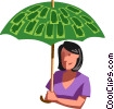 businesswoman with a money umbrella Vector Clip Art graphic