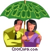 Business people under a money umbrella Vector Clip Art picture