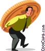 businessman carrying money on his back Vector Clipart image