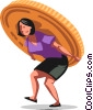 Vector Clipart graphic  of a businesswoman carrying money