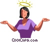 Vector Clipart illustration  of a halo over a businesswoman