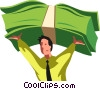 businessman holding money over his head Vector Clipart illustration