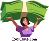 Vector Clip Art image  of a woman holding money over her