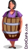 Vector Clipart graphic  of a businesswoman wearing a barrel