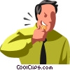 businessman biting a coin Vector Clipart illustration