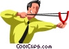 businessman with a slingshot Vector Clip Art picture