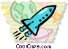 Rocket flying through space Vector Clipart graphic