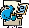Having Coffee Vector Clip Art picture