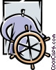 Captain's Wheel Vector Clip Art graphic