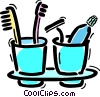 Toothbrush with razor and toothpaste Vector Clip Art image