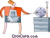 woman cleaning the house Vector Clip Art picture