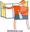 Vector Clip Art graphic  of a Window Cleaning