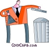 man putting out the garbage Vector Clipart graphic
