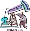 Vector Clip Art graphic  of a Oil Wells