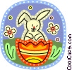 Vector Clip Art image  of a Easter bunny and an Easter egg