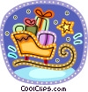 Santa's sleigh loaded with presents Vector Clip Art graphic