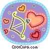 Cupid's arrow and heart Vector Clipart illustration
