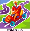 Boy driving go-cart Vector Clip Art graphic