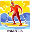 Cross Country Skiing Vector Clipart illustration