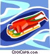 Vector Clip Art graphic  of a Luge