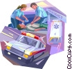 Ambulance, with paramedics and patient Vector Clipart illustration