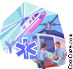 Air Ambulance with paramedics and patient Vector Clipart illustration