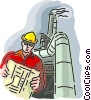 Vector Clipart graphic  of a construction worker at the