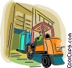 Vector Clip Art image  of a fork lift